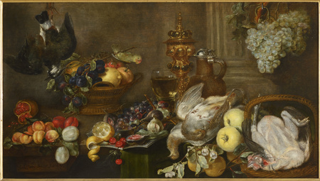 Zátiší s ovocem a ptáky