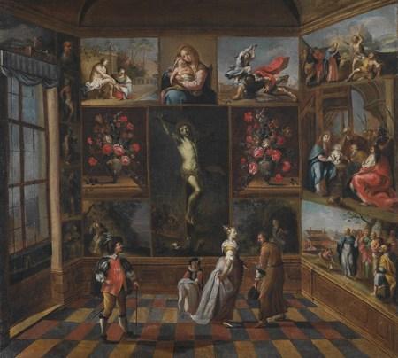 Interiér s obrazovou sbírkou