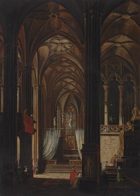 Interiér gotického kostela s privátní mší