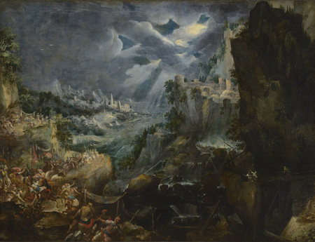 Krajina s prchajícím králem Dariem po bitvě s Alexandrem Velikým