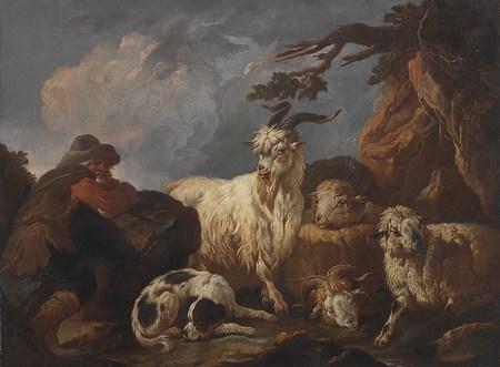 Pastýř se psem, kozlem, kozou a dvěma ovcemi