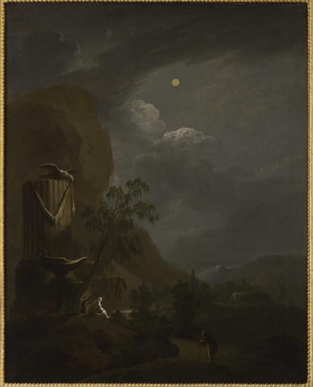 Noční krajina s antickou vázou a fragmentem obelisku; Noční krajina s antickým kahanem a fragmentem sloupu